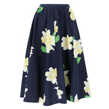 Michael Kors Indigo White Yellow Floral Patterned Flared Skirt US0 UK4
