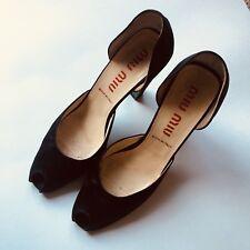 Miu Miu Women's Sz 40 Black Peep Toe Pumps Heels Shoes