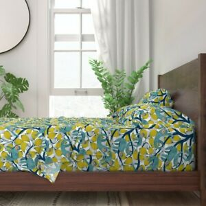 Blue Sloth Yellow Leaves Abstract 100% Cotton Sateen Sheet Set by Roostery