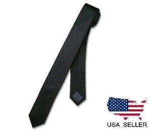"""NEW Men Boy Black Skinny Slim Retro Tie Narrow 2"""" Wide Thin Necktie Solid Color"""