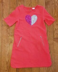 GYMBOREE Red Sequin Heart Short Sleeve Heart Dress Size M 7-8