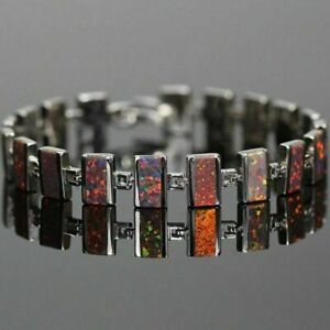 Exquisite Sterling Silver Red & Brown Fire Opal Oblong Tennis Bracelet 20cm