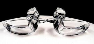 """DUNCAN MILLER GLASS 2 PC PALL MALL LINE CLEAR DUCK SHAPED 2 7/8"""" ASHTRAYS"""