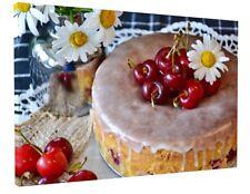 KITCHEN CAFE FOOD STUNNING CHERRY CAKE DESERT CANVAS PICTURE PRINT #2978