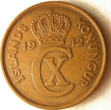 1942 ICELAND 5 AURAR - Excellent Coin - FREE SHIPPING - Iceland Bin GGG