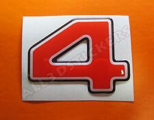 Pegatina Numero 4 3D Color Rojo Tamaño 50mm