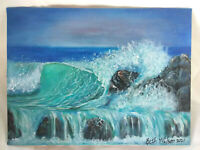 "Original Acrylic Painting  9""x12"" Canvas Panel,Seascape Tropical Wave Decor Art"