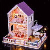 Bambole di legno Casa in miniatura kit fai da te Purple Villa con luce tutti i