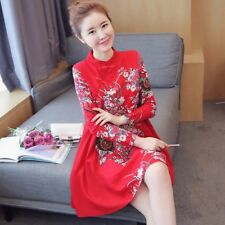 Ethnic Women Print Floral A-Line Dress Chinese Qipao Cheongsam Style Frog Button
