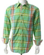 Robert Graham Men's XL Green Blue Orange Plaid Check Shirt Floral Flip Cuff EUC