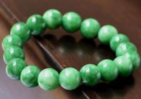 "Beautiful Natural 10mm Green Jade Stretch Bangle Beads Bracelet 7.5""AAA"