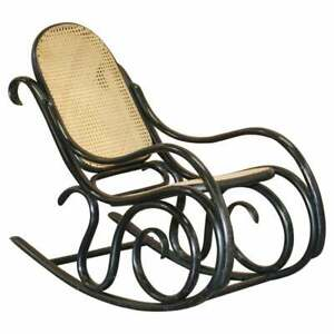 VINTAGE THONET EBONISED BLACK RATTAN BERGER ROCKING CHAIR LOVELY SMALL ARCHAIR
