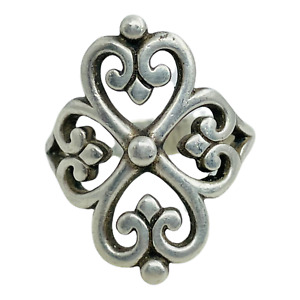 James Avery Sterling Silver Adorned Hearts Ring Sz 7.5