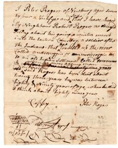 18th Century, Early Maine Indian wars, deposition re: soldier tracking Indians