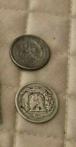 .900 Silver 1944 Dominican Rep. 10 Centavos 1953 El Salvador 25 Centavos & bonus
