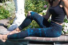 Black & Turquoise Tie Dye Yoga and Fitness Leggings Cott/Span All Sizes XXS-6XL