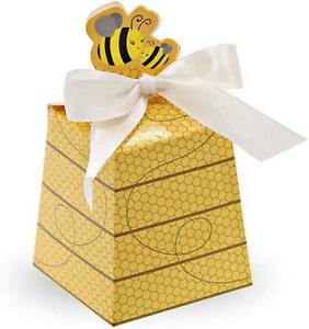50 Pcs Paper Beehive Bee Gift Box with White Ribbons Favors Candy Boxes LOT