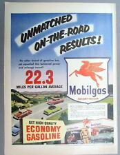 10 BY 14 Original 1953 Mobil Ad UNMATCHED ON THE ROAD RESULTS  MOBILGAS
