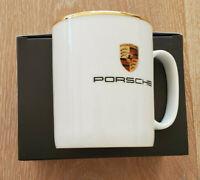 Porsche Wappen Tasse groß, Porzellan, 400 ml, Goldrand, Made in Germany, NEU