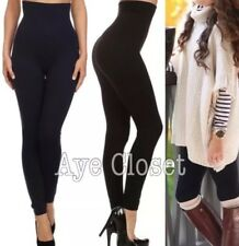 BLACK plus Size High Waisted Compression Leggings Tummy Control Lined OS