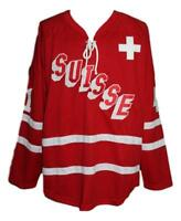 Any Name Number Size Suisse Switzerland Custom Retro Hockey Jersey Red