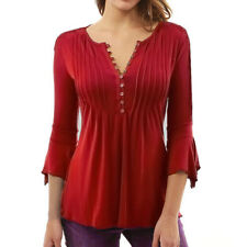 Women Spring Summer Flare 3/4 Sleeve Slim V Neck Buttons Blouse Tops Shirt Tee