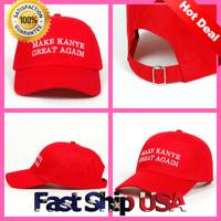 Make Kanye Great Again Custom Dad Hat Adjustable Baseball Cap New - Red