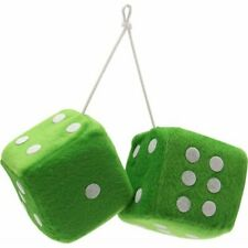 """3"""" Green Fuzzy Dice with White Dots - Pair VPADICEGNW vintage parts usa hot rod"""