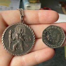 Very Large St Christopher round 1.6' x 1.6' on long silver chain