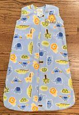 Halo Sleepsack Wearable Blanket Small 0-6m Blue Fleece Jungle Animals EUC
