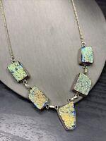"""Vintage Titanium coated Stone Druzy Boho Silver Tone Pendant Necklace18"""""""