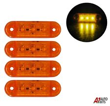4x Amber Yellow Small Side Marker Lights 3 Led Lights Lamp Lorry Trailer 12v24v