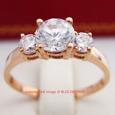 Genuine Solid 9ct Rose Gold Engagement Wedding Trilogy Rings Simulated Diamonds