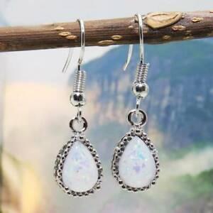 Women Silver Plated Pear Imitated Opal Drop Dangle Earrings for Wedding Jewelry