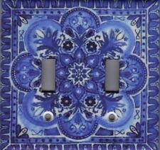 BLUE ITALIAN TILE PRINT - TUSCAN KITCHEN DECOR DOUBLE LIGHT SWITCH PLATE