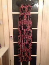 "Evie Long Maxi Dress Size 6 Vgc 50"" Length Black / Pink Boho"
