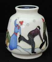 Moorcroft Snowball Battle Vase - designed by Kerry Goodwin - shape 198/3 - 9c...