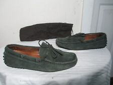 THE ORIGINAL CAR SHOE GRAY SUEDE LACE UP DRIVING MOCCASIN SHOES SZ 6 ITALY