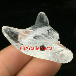 1pc Natural clear quartz fox hand-carved crystal skull Pendant healing