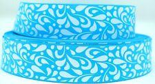 "Grosgrain Ribbon 7/8"" &1.5"" Turquoise & White Floral Swirls Pattern Printed."