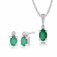 Gemondo 9ct White Gold Emerald & Diamond Oval Stud Earrings & 45cm Necklace Set