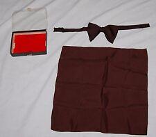 Vintage Ugo Vallini Brown Adjustable Bow Tie Scraf Hankerchief Box