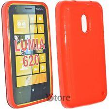 Cover Custodia Per Nokia Lumia 620 Silicone Gel TPU Rosso
