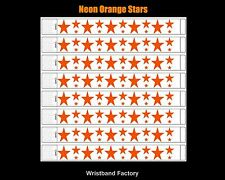 100x Tyvek Neon Orange Stars Party Function Event Disco Rave Security Wristbands