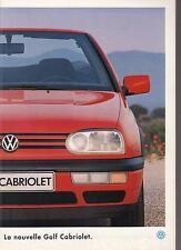 Catalogue brochure Katalog Prospekt VOLKSWAGEN GOLF CABRIOLET ANNEE1994 33 Pages