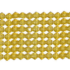 4MM AMBER CRYSTAL GLASS BICONE BEADS