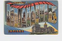BIG LARGE LETTER VINTAGE POSTCARD GREETINGS FROM INDIANA INDIANAPOLIS #3