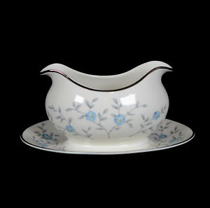 ANCESTRAL AM HOSTESS CHINA BLUE LACE GRAVY BOAT ATTACHED UNDERPLATE BLUE FLOWER