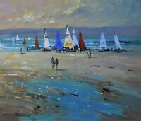 Richard Blowey Original Oil Painting Marazion Sailing Boats Cornwall Cornish Art