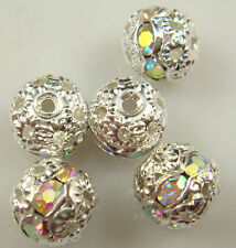 8mm 5pcs Czech white AB Crystal Rhinestone Silver Rondelle Spacer Beads t1k8
